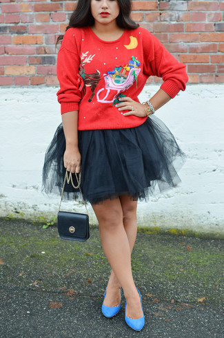 How to Wear Blue Suede Pumps: If you're after a laid-back and at the same time incredibly stylish getup, make a red christmas crew-neck sweater and a black tulle mini skirt your outfit choice. A chic pair of blue suede pumps is an effective way to add an added touch of style to your getup.