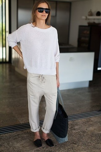 How to wear: white crew-neck sweater, beige pajama pants, black leather loafers, black canvas tote bag