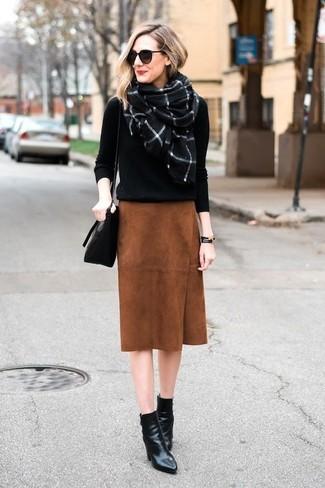 How to wear: black crew-neck sweater, tobacco suede pencil skirt, black leather ankle boots, black leather crossbody bag