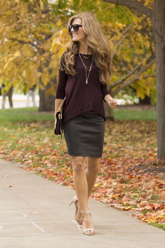 Women's Burgundy Crew-neck Sweater, Charcoal Pencil Skirt, Beige ...