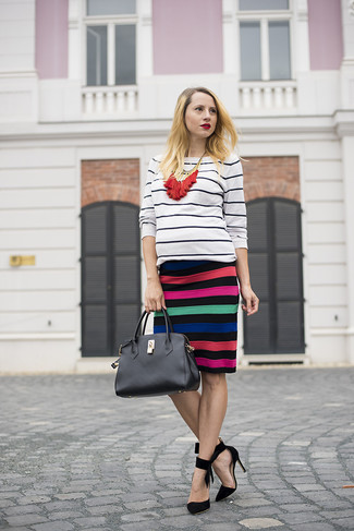 Women's White and Black Horizontal Striped Crew-neck Sweater, Multi colored Horizontal Striped Pencil Skirt, Black Suede Pumps, Black Leather Satchel Bag
