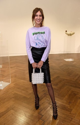 How to wear: light violet print crew-neck sweater, black leather pencil skirt, black cutout leather pumps, white beaded clutch