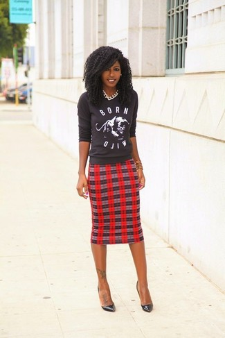 Women's Charcoal Print Crew-neck Sweater, Red Plaid Pencil Skirt, Black Leather Pumps, Silver Necklace