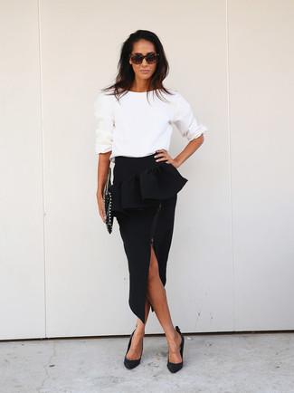 Black Pencil Peplum Skirt