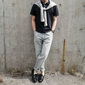 Black Polo with Chinos Outfits: If you're scouting for an off-duty but also dapper outfit, wear a black polo and chinos. For a sleeker feel, why not introduce black leather tassel loafers to this outfit?