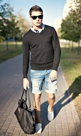 A black jumper and light blue denim shorts feel perfectly suited for weekend activities of all kinds. A pair of espadrilles will seamlessly integrate within a variety of outfits.