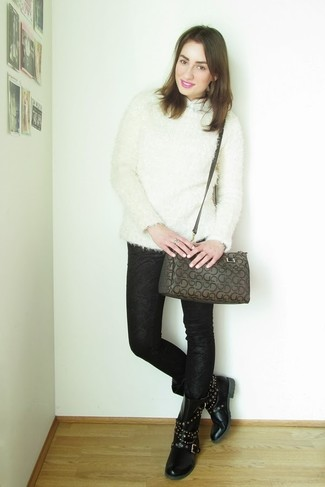 How to Wear a Brown Print Leather Satchel Bag: A white fluffy crew-neck sweater and a brown print leather satchel bag are among the fundamental elements of a chic off-duty closet. A cool pair of black studded leather lace-up flat boots is a simple way to punch up this ensemble.