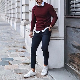 White Short Sleeve Shirt Outfits For Men: If you're after a casual and at the same time dapper ensemble, try teaming a white short sleeve shirt with navy chinos. We adore how this whole outfit comes together thanks to a pair of white canvas low top sneakers.
