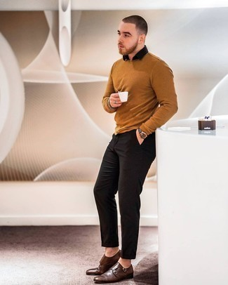 Tobacco Crew-neck Sweater Outfits For Men: Rock a tobacco crew-neck sweater with black chinos for a laid-back kind of sophistication. And if you wish to immediately amp up your ensemble with one single piece, why not introduce a pair of dark brown leather double monks to the equation?