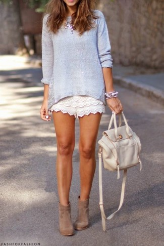 How to wear: light violet crew-neck sweater, white lace shorts, tan suede ankle boots, white leather backpack