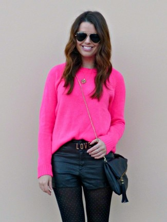 How to wear: hot pink crew-neck sweater, black leather shorts, black leather crossbody bag, black sunglasses
