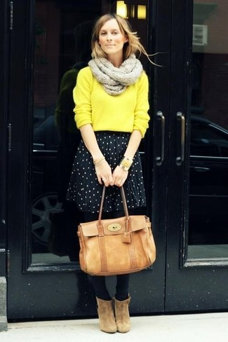 How to wear: yellow crew-neck sweater, black and white polka dot skater skirt, tan suede ankle boots, tan leather satchel bag