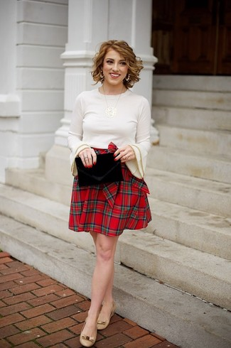 How to wear: beige crew-neck sweater, red plaid skater skirt, tan leather ballerina shoes, black velvet clutch