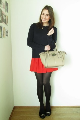 Black Leather Ballerina Shoes Outfits: For a laid-back ensemble, wear a black crew-neck sweater and a red skater skirt — these two items go really good together. Let your styling savvy truly shine by finishing your ensemble with black leather ballerina shoes.