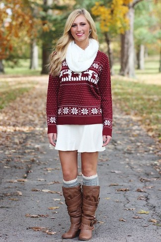 Women's Burgundy Fair Isle Crew-neck Sweater, White Skater Skirt, Brown Leather Knee High Boots, Grey Knee High Socks