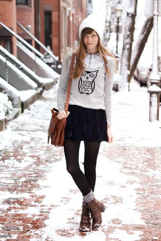 How to wear: grey print crew-neck sweater, navy velvet skater skirt, brown leather lace-up flat boots, brown leather crossbody bag