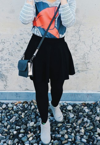 Black Jacquard Mini Skater Skirt