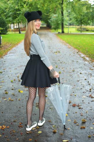 Women's Grey Crew-neck Sweater, Black Skater Skirt, Silver Low Top Sneakers, Black Wool Hat