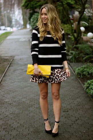 How to wear: black and white horizontal striped crew-neck sweater, tan leopard skater skirt, black suede pumps, yellow leather clutch