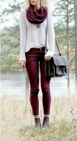 A white mohair crew-neck pullover and burgundy skinny jeans is a smart combination to carry you throughout the day. Dark brown leather ankle boots will bring a classic aesthetic to the ensemble.
