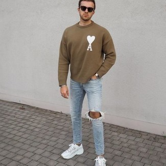 Light Blue Ripped Skinny Jeans Outfits For Men: A brown print crew-neck sweater and light blue ripped skinny jeans will give off a casually dapper vibe. The whole look comes together quite nicely when you add white athletic shoes to the mix.
