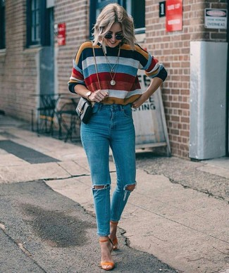 How to wear: multi colored horizontal striped crew-neck sweater, blue ripped skinny jeans, orange suede heeled sandals, black leather crossbody bag
