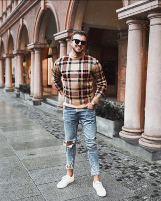 How to wear: tan plaid crew-neck sweater, light blue ripped skinny jeans, white low top sneakers, black sunglasses