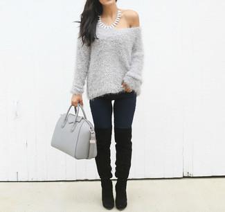 Fuzzy Marled Knit Sweater