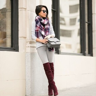 How to wear: grey horizontal striped crew-neck sweater, grey skinny jeans, red suede over the knee boots, grey quilted leather crossbody bag