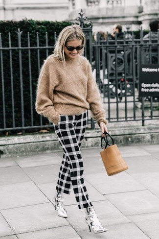 How to wear: tan mohair crew-neck sweater, black and white check skinny pants, silver leather ankle boots, tan leather clutch