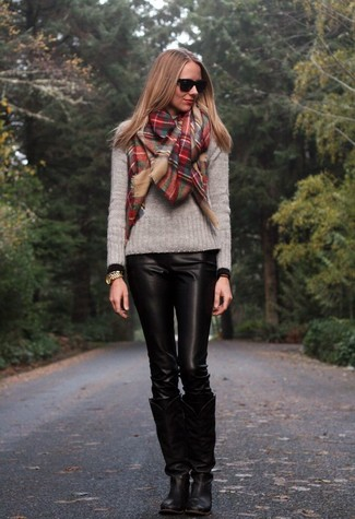 How to wear: grey crew-neck sweater, black leather skinny pants, black leather knee high boots, red plaid scarf