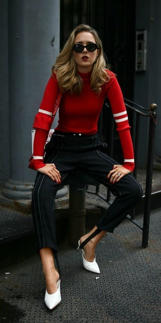 How to Wear a Red Leather Crossbody Bag: For To put together a casual ensemble with a stylish twist, dress in a red crew-neck sweater and a red leather crossbody bag. White leather mules will infuse an extra dose of class into an otherwise utilitarian outfit.