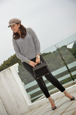 If you're a fan of relaxed dressing when it comes to your personal style, you'll love this chic combination of a grey embellished crew-neck sweater and a Scala Lw597 Knit Cadet Flat Cap. Opt for a pair of charcoal leather pumps to instantly up the chic factor of any outfit. An ensemble like this makes it easy to embrace the colder months.