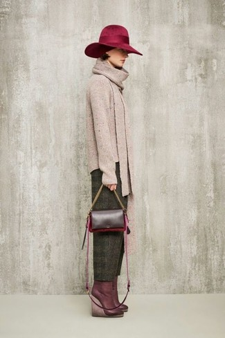 Women's Beige Crew-neck Sweater, Olive Wool Tapered Pants, Burgundy Leather Wedge Ankle Boots, Burgundy Leather Crossbody Bag
