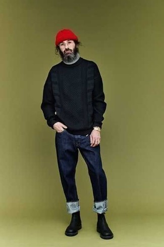 How To Wear Blue Jeans With Black Leather Boots For Men: For effortless style without the need to sacrifice on practicality, we like this combination of a black crew-neck sweater and blue jeans. Feeling transgressive today? Switch things up by sporting a pair of black leather boots.