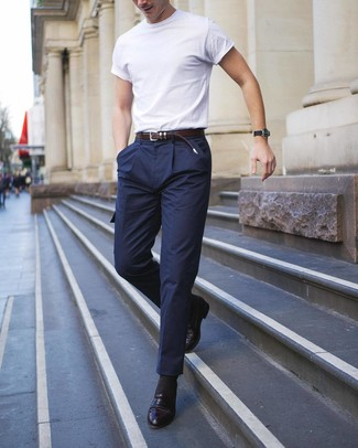 How to wear: white crew-neck t-shirt, navy wool cargo pants, black leather loafers, dark brown leather belt