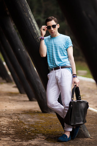 How to wear: light blue horizontal striped crew-neck t-shirt, white chinos, navy suede driving shoes, black leather messenger bag