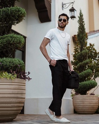 Bracelet Outfits For Men: The go-to for a kick-ass laid-back look? A white crew-neck t-shirt with a bracelet. If you want to effortlessly kick up this outfit with one piece, complement this ensemble with grey horizontal striped canvas espadrilles.