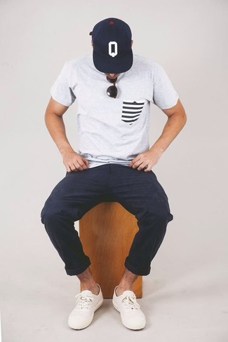 Men's Grey Crew-neck T-shirt, Navy Chinos, White Low Top Sneakers, Navy and White Print Baseball Cap