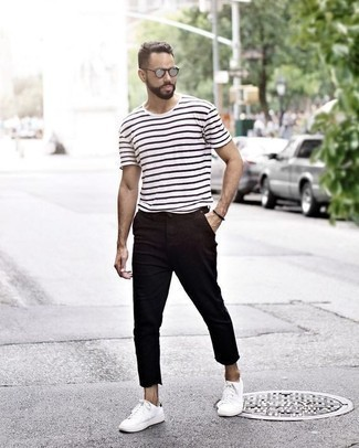 How to Wear Silver Sunglasses For Men: A white and black horizontal striped crew-neck t-shirt and silver sunglasses paired together are a nice match. Balance out your look with a classier kind of shoes, such as this pair of white canvas low top sneakers.
