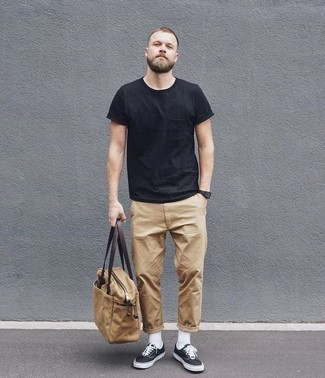Men's Black Crew-neck T-shirt, Khaki Chinos, Black and White Canvas Low Top Sneakers, Tan Canvas Tote Bag