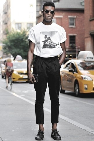 Men's White and Black Print Crew-neck T-shirt, Black Chinos, Black Embellished Leather Oxford Shoes, Black Leather Zip Pouch