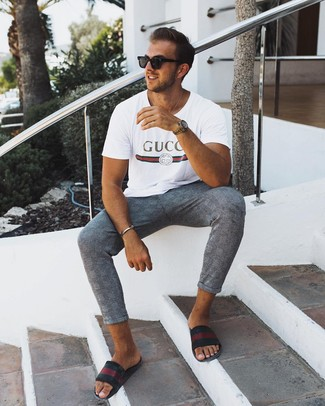 How to wear: white print crew-neck t-shirt, grey plaid chinos, black horizontal striped leather sandals, black sunglasses