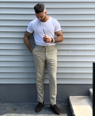How to wear: white crew-neck t-shirt, beige dress pants, dark brown suede loafers, black leather watch