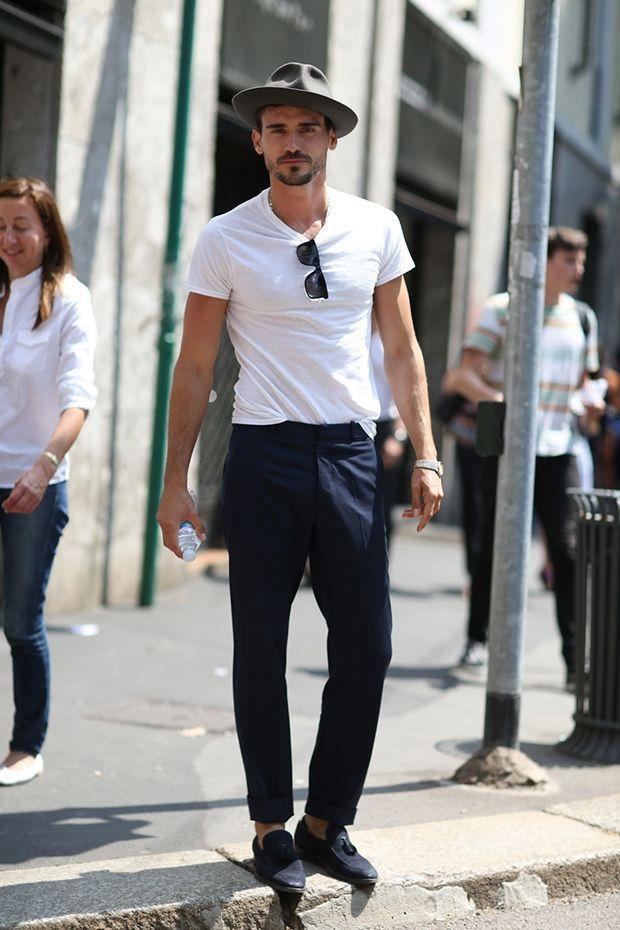 0261daa3 Men's White Crew-neck T-shirt, Navy Dress Pants, Navy Suede Tassel ...