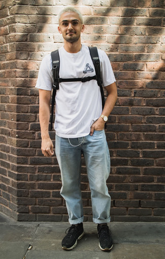 How To Wear a White and Black Print Crew-neck T-shirt With Black Athletic Shoes For Men: You're looking at the irrefutable proof that a white and black print crew-neck t-shirt and light blue jeans look awesome if you pair them together in a modern casual outfit. For footwear, you can stick to the casual route with a pair of black athletic shoes.