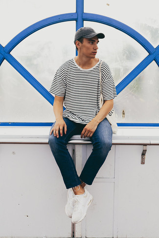 Charcoal Baseball Cap Outfits For Men: Beyond dapper and practical, this combination of a white and black horizontal striped crew-neck t-shirt and a charcoal baseball cap provides with excellent styling possibilities. Parade your elegant side by rounding off with white athletic shoes.