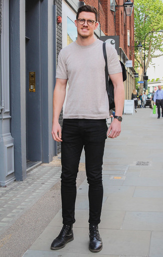 How to Wear a Beige Crew-neck T-shirt For Men: This laid-back combo of a beige crew-neck t-shirt and black jeans comes to rescue when you need to look sharp in a flash. To give your overall look a classier aesthetic, complement this ensemble with black leather casual boots.