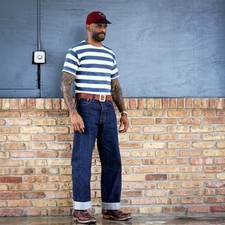 White and Navy Horizontal Striped Crew-neck T-shirt Outfits For Men: A white and navy horizontal striped crew-neck t-shirt and navy jeans are among the fundamental pieces in any modern gentleman's well-edited casual sartorial arsenal. A pair of dark brown leather casual boots immediately revs up the fashion factor of this look.
