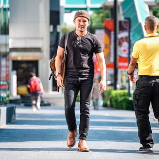 How to Wear Tan Leather Chelsea Boots For Men: If you're after a laid-back yet dapper look, wear a black crew-neck t-shirt with black jeans. A pair of tan leather chelsea boots will take your getup in a smarter direction.